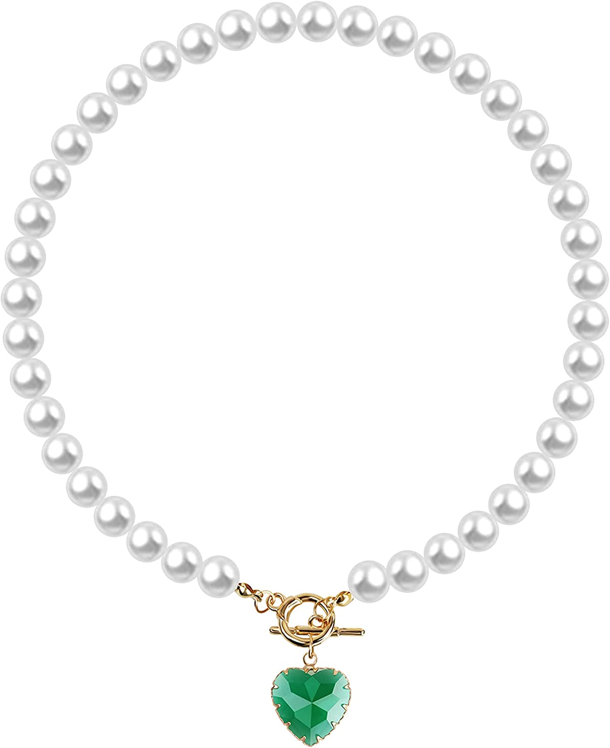 MISS RIGHT Crystal Love Heart Pearl Necklace for Women Girls, 14K Gold Plated Vintage Toggle Choker Pendant Necklace, 17''
