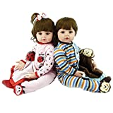 Zero Pam 24' Caucasian Twins Soft Body Twin Baby Dolls Reborn Twins Boy and Girl Toddler Dolls Realistic 3 Months Reborn Babies for Kids 3 Years Old +