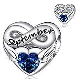 September Birthstone Charms for Pandora Charms Bracelet- 925 Sterling Silver Bead Endless Love Charms, Happy Birthday Charms for Bracelet and Necklace