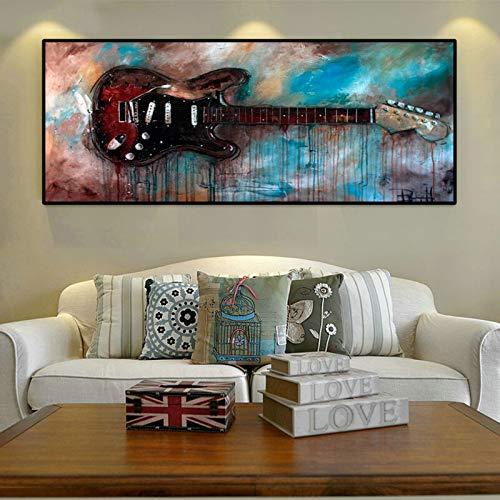 QWESFX Moderne Ölgemälde Wandkunst Bilder für Raumdekoration Abstrakte Aquarell Gitarre Poster und Drucke auf Leinwand Dekor C 50x100cm