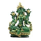 LBYLYH Figura decorativa para el hogar de 13,5 cm de altura verde Tara pequeñas estatuas de resina t...