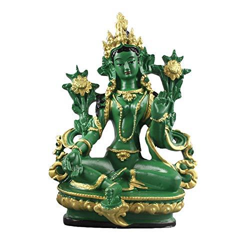 ZAAQ 13,5 cm Höhe Grüne Tara Kleine Harz Statuen Tantra Statuen Buddha Statue Buddhismus Buddhistische Figur Figur