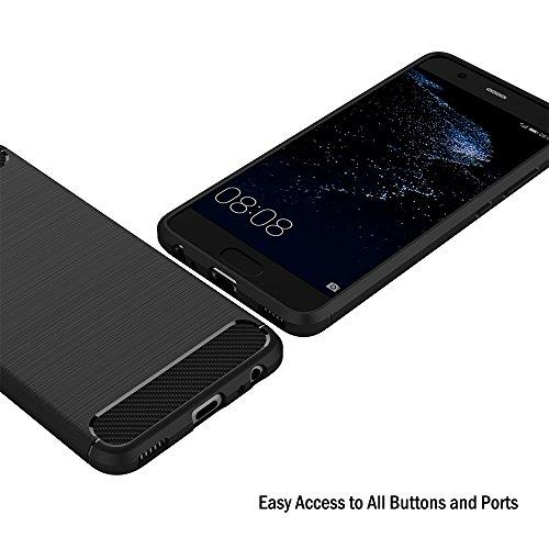 AICEK Huawei P10 Hülle, Schwarz Silikon Handyhülle für Huawei P10 Schutzhülle Karbon Optik Soft Case - 4