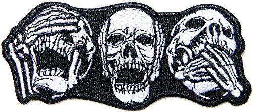 No Speak Hear See Skull Skeleton Hand Finger Biker Rider Hippie Punk Rock Heavy Metal Jacket T-Shirt Vest Patch Sew Iron on Embroidered Sign Badge