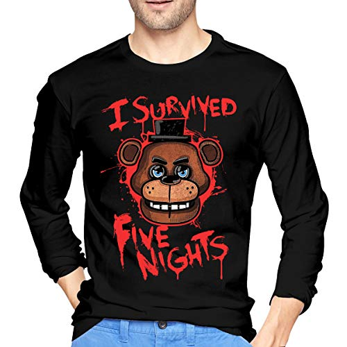 U are Friends Five-Nights-at-Freddy Herren Jungen Langarm-Basketball-Sport-T-Shirt(S,Schwarz)