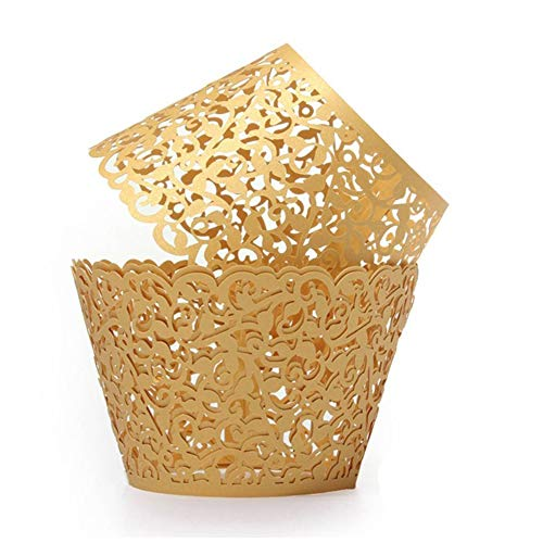 SUYEPER 100pcs Cupcake Wrappers Artistic Bake Cake Paper Cups Little Vine Lace Laser Cut Liner Baking Cup Muffin Case Trays for Wedding Party Birthday Decoration (Gold)