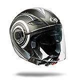 one by Camamoto cod 77446042 casco alfa jet doppia visiera omologato moto/scooter di colore nero/grigio taglia, misura medium (m)