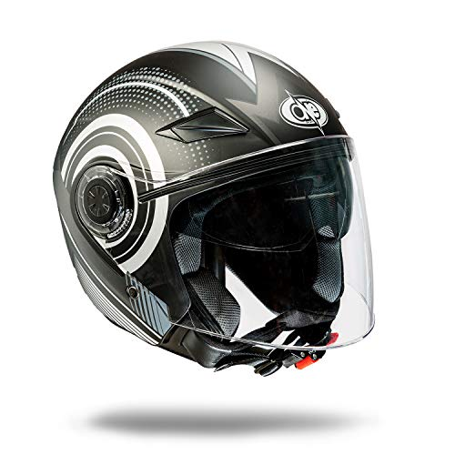 one by Camamoto cod 77446042 jet/demi jet casco negro/gris, visera doble visera homologado para moto/scooter de color negro/gris, talla mediana (m)