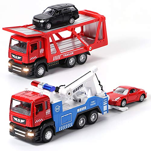 Winrayk 4PCS Toy Trucks with Mini Toy Cars 1:50 Scale Pull Back Metal Model Truck Toys, Light & Sound Toy Truck Diecast Transport Vehicles Tow Truck Toys for Boys Girls 3 4 5 6 Years Old