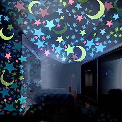 Ketuan 100 Piezas de Estrellas y Luna Que Brillan en la Oscuridad, Estrellas Brillantes para el Techo y la Pared, Ideal para la habitación de los niños o como Regalo de cumpleaños