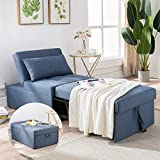 Cozy Castle Sofa Bed, 4 in 1 Multi Function, Liner Fbric, Convertible Ottoman Bed, Sleeper Chair, Chaise Lounge, Single Sofa Bed for Living Room/Small Apartment (Blue)