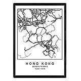 Drucken Stadtplan Hong Kong nordico Stil in Schwarz und