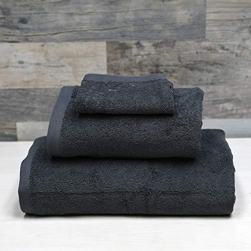SENSEI MAISON - Pack Eponge Suprême 3 Pièces - 1 Serviette de Toilette + 1 Grand Drap de Bain + 1 Gant de Toilette - 100% Coton - Certifié Oeko-Tex® - Linge Doux et Absorbant - Couleur Anthracite
