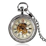 KJFB Reloj de bolsillo Steampunk plateado esqueleto mecánico reloj de bolsillo cadena diseño de cara abierta viento mano mujeres hombres relojes de regalo de Navidad (color: plata)