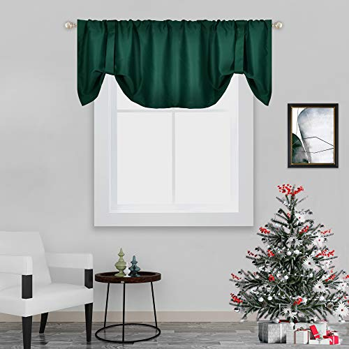 Forest Green Blackout Valances for Window Treatments Tie-up Christmas Curtains Valance for Bedroom Bathroom 18 Inch Length Rod Pocket Top Tie Up Adjustable 52X18 Inch Hunter Green