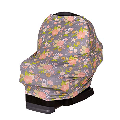 J.L. Childress 4-in-1 Multi-Use Cover - Stretchy Car Seat Canopy & Privacy Cover, Breastfeeding Nursing Cover, Shopping Cart & High Chair Cover & Soft, Breathable Blanket, Grey Floral
