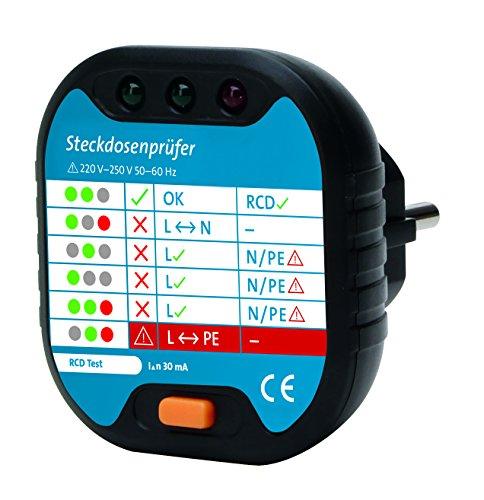 Kopp 171002012 Steckdosenprüfgerät für Anschlussprüfung mit optischer Anzeige, Anthrazit
