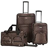 Rockland Vara Softside 3-Piece Upright Luggage Set, Leopard, (20/22/28)