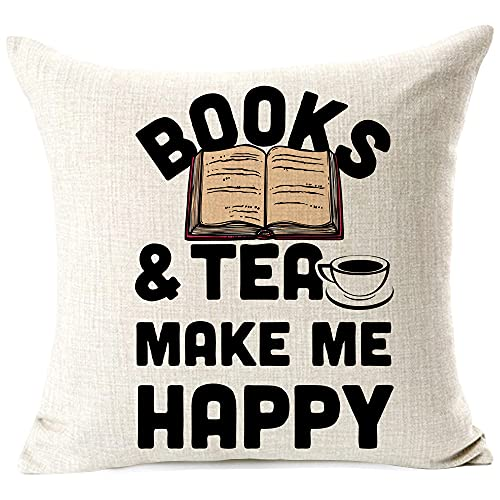 963RW Books and Tea Make Me Happy, Inspirational Sign Decor Reading Decoration Throw Pillow Cover Cushion Case Home Bedroom Chair Office Decorative Square 18 X 18 Inches