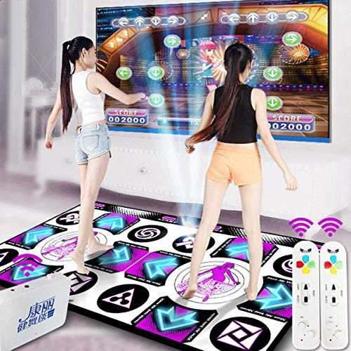 Wireless Double Dancing Mat + 2 Remote Controller, Dance Pad Mat Anti-Slip Wear Resistant, Yoga Fitness Body Building Dancing Mat, Dancing Step Dance Mat Pad for PC TV Household Game (Purple)