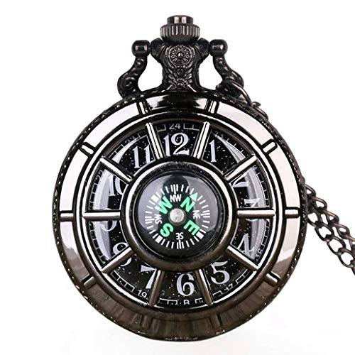 YUTRD ZCJUX Brújula diseño de Moda Vintage Esqueleto Hueco Reloj de Bolsillo Negro Estrellado Esfera Redonda Colgante Antiguo Reloj Regalos Hombres Mujeres (Color : Black)