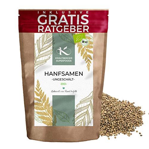 Graines de chanvre BIO entières 900g | Graines de chanvre biologique de qualité Krautberger Superfood sans additifs, y compris des conseils gratuits de haute qualité Omega 3