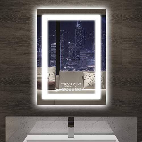 (36x24inch) Vertical LED Backlit Bathroom Mirror, Wall Mounted Lighted Vanity Mirrors, Smart Bathroom Mirror with Touch Switch +Defogger +Bluetooth +Color Brightness & Dimmer +IP44 Waterproof +CRI>90