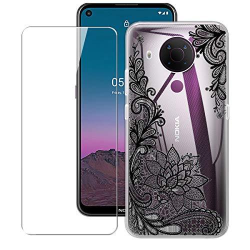 WenJie Cover per Nokia 5.4 (6.39') + Vetro Temperato, Case Silicone Shell Traslucido Guscio Sottile Cover di TPU - Pellicola Protettiva Proteggi Schermo -108