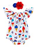 Kids NewbornBaby Girls 4th of July Romper Outfits Set American Flag Ruffle Jumpsuit Bodysuit Summer Clothes Set (Ice Cream, 6-12 Months)