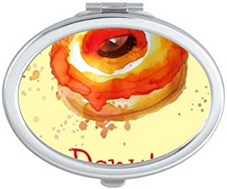 DIYthinker Watercolor Hand-Painted Orange Doughnut Dessert Oval Compact Makeup Mirror Portable Cute Hand Pocket Mirrors Multicolor