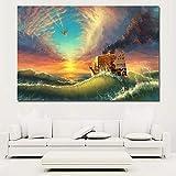 KWzEQ Imprimir en Lienzo Carteles y Fotos de Barcos de mar decoración de Pared para Sala de Estar en casa60x90cmPintura sin Marco