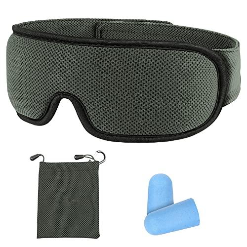 Schlafmaske, Voluex Schlafbrille 3D Konturen Design Schlafmasken für Männer und Frauen 100% Lichtschutz Verstellbare Augenmaske Schlafmaske zum Reisen Nickerchen mit Ohrstöpsel, dunkelgrau