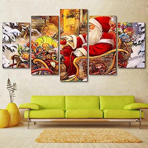 DUOYUN 5 Cuadros Impresos en Lienzo, Decoraciones de Pared para Sala de Estar, Dormitorio y Cocina-Póster Santa y niña-Decoración Creativa del hogar, Regalos