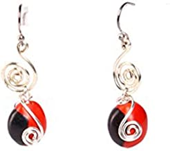 Peruvian Earrings for Women - Huayruro Red Black Seed Dangles - Natural Handmade Jewelry by Evelyn Brooks