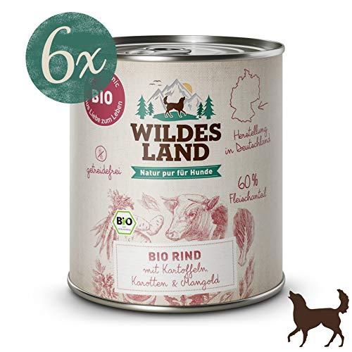Wildes Land Hundefutter Nassfutter Bio Rind mit Kartoffeln Karotten Mangold800g (6 x 800g)