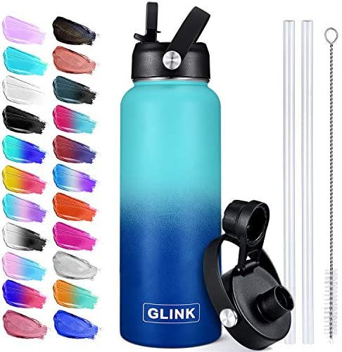 Glink Water Bottle with Straw 32 oz 2 Lids Straw Lid Spout Lid with New Flexible Strap Insulated product image