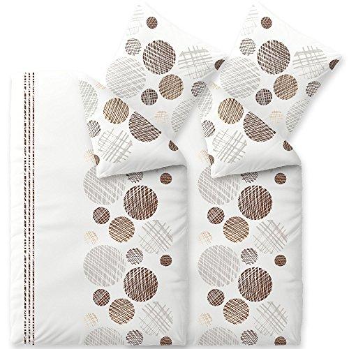 CelinaTex Touchme Biber Bettwäsche 155 x 220 cm 4teilig Baumwolle Bettbezug Curly Punkte Streifen weiß braun grau