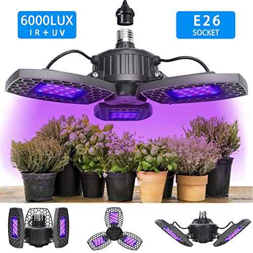 LED Grow Light for Indoor Plant, Grow Lamp Full Spectrum Plant Light Foldable LED Grow Light Bulb 144pcs LEDs with Red Blue Spectrum for Hydroponic Veg, Flower Succulents Garden Growing