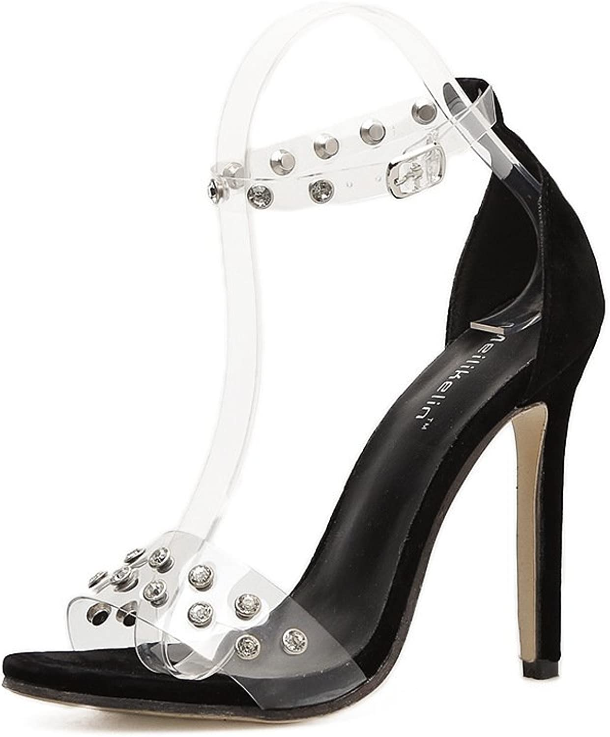 The Water Drilling Rivets Water Drilling Rivets Flat with high-Heeled Sandals