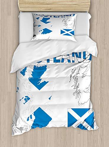 ABAKUHAUS Escocia Funda Nórdica, Mapa del País y La Bandera, 1 Funda para Almohada Set Decorativo de 2 Piezas, 264 x 220 cm, Azul Cobalto Blanco