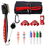 11 in 1 Golf Accessories,Golf Towel and Brush to Clean Golf Club with Magnet Divot Tool,Golf Ball Liners,Golf tee,Pens…