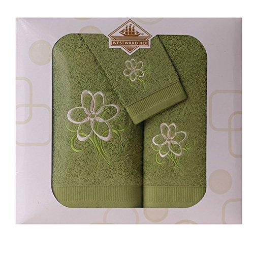 Westward Ho!. Diseño de Flores Juego de Toallas, Verde Oscuro, Juego de 3