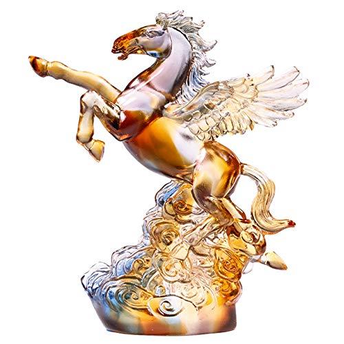 J.Mmiyi Cavallo Statua Interno Casa Decorazione, Smalto Colorato Figurine A Forma di Cavallo da Combattimento Scultura Significa Successo, Ufficio Ornamenti,Multi Colored