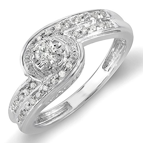 0.25 Carat (ctw) Sterling Silver Round Diamond Ladies Promise Engagement Bridal Ring 1/4 CT