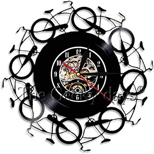 Retro fiets Wandklok Modern Vinyl Clock Wall Art Klokken Horloges Woonkamer Decoratie Creatief uurwerk-A