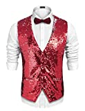 Coofandy Men's Slim Fit Shiny Sequins Vest Waistcoat For Party,Wedding,Christmas,Nightclub Red Large