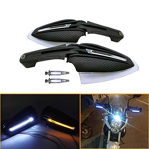 QIDIAN Protège-Mains en Fibre de Carbone pour Moto Garde-Mains 7/8'22mm avec Clignotant LED Blanc + Jaune pour Scooter ATV Dirt Bike MX Supermoto Racing (Black)