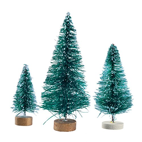 VORCOOL miniature Frosted sisal Christmas Trees Snow Pine Trees Bottle Brush Trees con base in legno 32 pz
