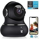 Überwachungskamera, Littlelf WLAN IP Kamera 1080P HD WiFi Kamera mit 360°Schwenkbare Baby Monitor, Zwei-Wege-Audio, Bewegungserkennung, Nachtsicht mit Alexa (Schwarz)