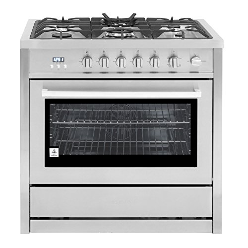 Cosmo COS-965AGC-PA 36 in. 3.8 cu. ft. Gas Range with Convection Oven and 5 Burner Cooktop with Heavy Duty Cast Iron Grates in Stainless Steel